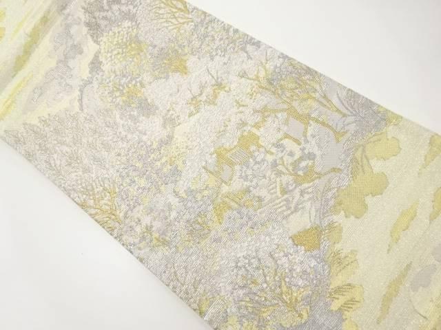【IDnet】 金銀糸遠山に茶室風景模様織出袋帯【リサイクル】【中古】【着】