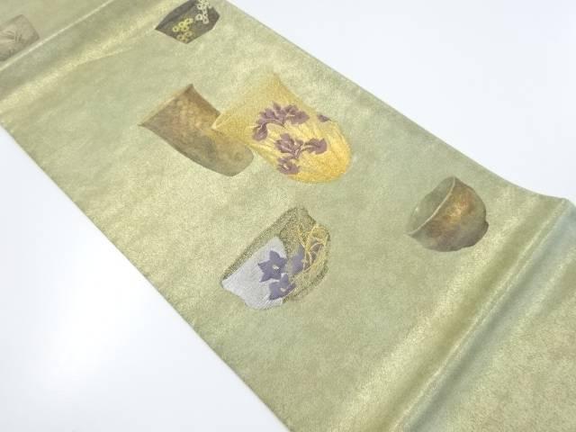 【IDnet】 清水六兵衛 引箔陶器に菖蒲・桔梗模様織り出し袋帯【リサイクル】【中古】【着】