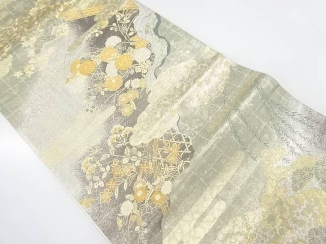 【IDnet】 加賀蒔絵橋に秋草模様織出し袋帯【リサイクル】【中古】【着】