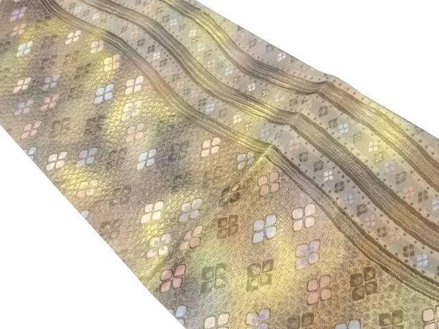 【IDnet】 ふくれ織よろけ縞に花菱模様織出し暈し袋帯【リサイクル】【中古】【着】