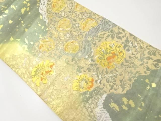 【IDnet】 服部織物製 こはく錦道長取に花鳥更紗模様織出袋帯【リサイクル】【中古】【着】