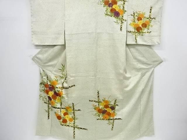【IDnet】 未使用品 仕立て上がり 金彩菊に萩のり散らし模様訪問着【着】