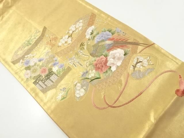 【IDnet】 本金蘇州刺繍貝桶に牡丹・雉模様袋帯【リサイクル】【中古】【着】