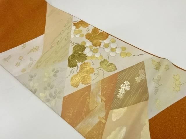 【IDnet】 綴れ金彩切り嵌め風葡萄模様刺繍袋帯【リサイクル】【中古】【着】