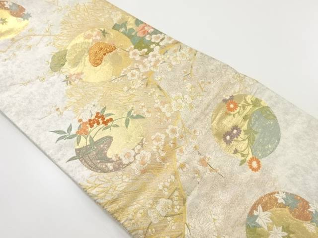 【IDnet】 金銀糸松葉に枝梅四季草花模様織出袋帯【リサイクル】【中古】【着】