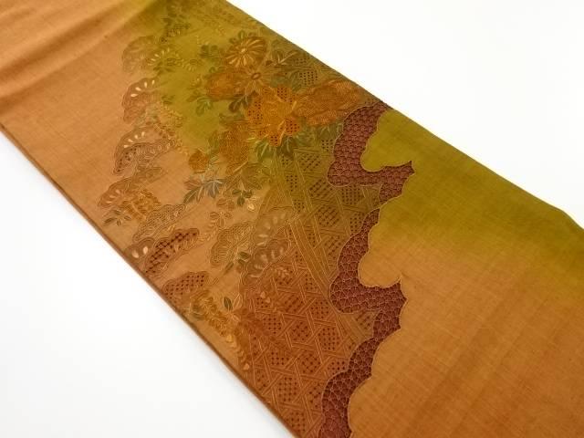 【IDnet】 手織り真綿紬汕頭蘇州刺繍雲取に牡丹菊松模様袋帯【リサイクル】【中古】【着】