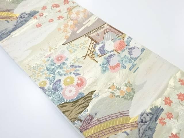 【IDnet】 本金屋敷風景模様織り出し袋帯【リサイクル】【中古】【着】