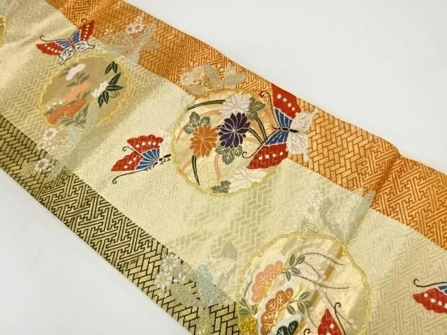 【IDnet】 雪輪に花・蝶・古典柄模様織出し袋帯【リサイクル】【中古】【着】
