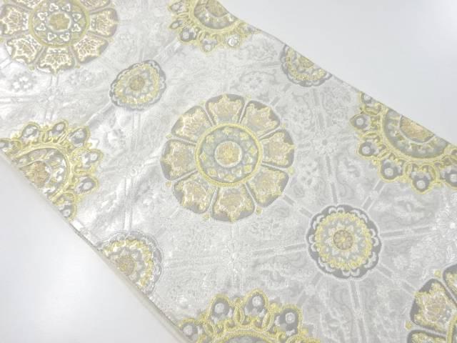 【IDnet】 純プラチナ二重箔天平煌彩文織り出し袋帯【リサイクル】【中古】【着】