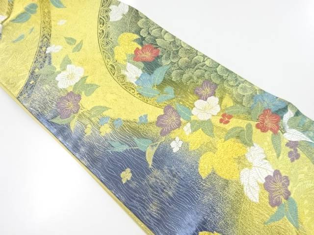 【IDnet】 洋花模様織出し袋帯【リサイクル】【中古】【着】