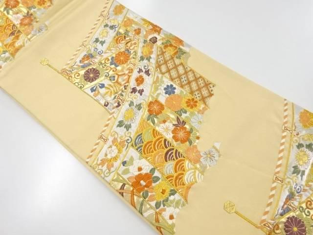 【IDnet】 金銀糸幕に花・古典柄模様織出し袋帯【リサイクル】【中古】【着】