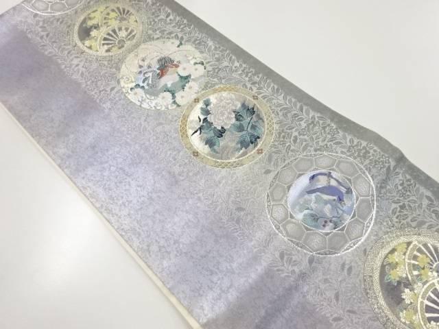 【IDnet】 引箔絵皿に花鳥模様織出し袋帯【リサイクル】【中古】【着】