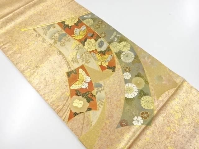 【IDnet】 箔置き螺鈿几帳に松・牡丹・菊・蝶模様袋帯【リサイクル】【中古】【着】