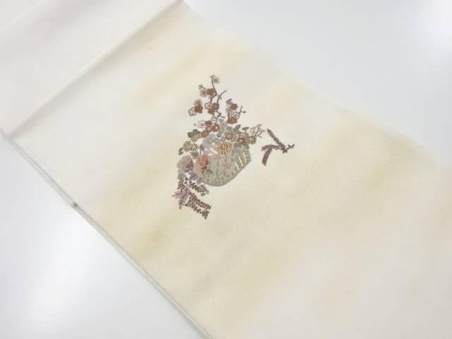 【IDnet】 相良刺繍花籠模様袋帯【リサイクル】【中古】【着】