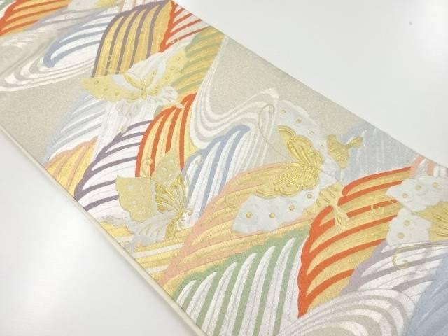 【IDnet】 金銀糸流水に蝶模様織り出し袋帯【リサイクル】【中古】【着】
