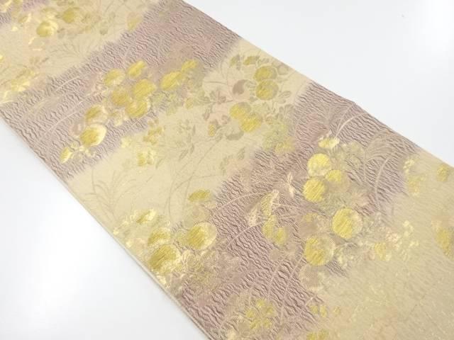 【IDnet】 金糸すくい織り秋草模様織り出し袋帯【リサイクル】【中古】【着】