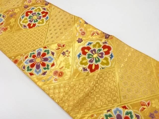 【IDnet】 華紋に蝶・古典柄模様織出し袋帯【リサイクル】【中古】【着】