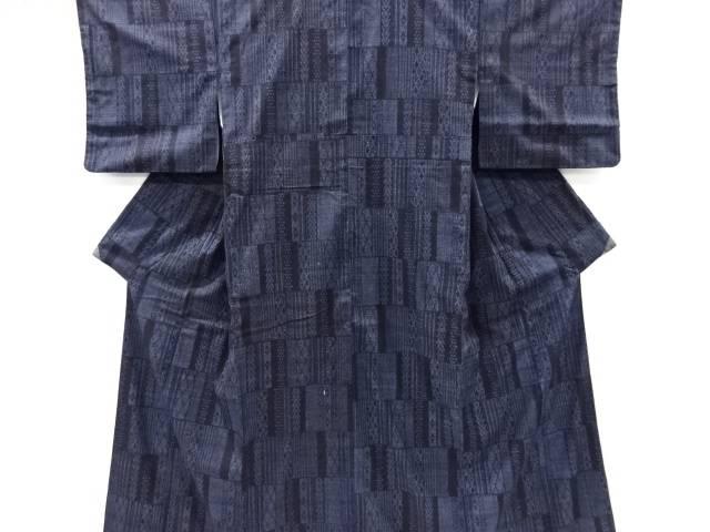 【IDnet】 幾何学模様織り出し本場結城紬100亀甲着物(結)【リサイクル】【中古】【着】