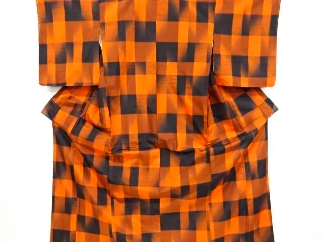 【IDnet】 変わり市松模様織り出し手織り節紬着物アンサンブル【リサイクル】【中古】【着】