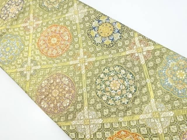 【IDnet】 本金格天井に華紋織り出し袋帯【リサイクル】【中古】【着】