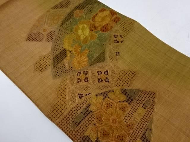 【IDnet】 未使用品 手織紬汕頭相良蘇州刺繍地紙に牡丹・七宝模様袋帯【リサイクル】【着】