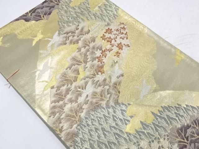 【IDnet】 未使用品 群鶴に寺院風景模様織出し袋帯【リサイクル】【着】