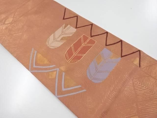 【IDnet】 抽象矢羽根模様織出し本袋帯【リサイクル】【中古】【着】