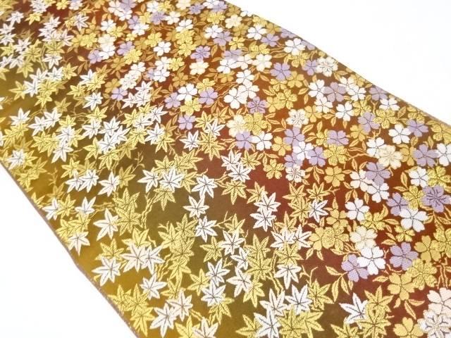 【IDnet】 未使用品 桜に紅葉模様織出し袋帯【リサイクル】【着】