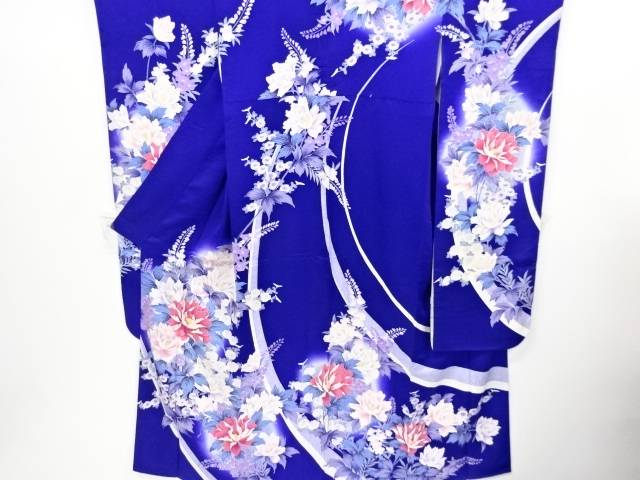 【IDnet】 熨斗に菊・牡丹模様刺繍振袖・長襦袢セット【リサイクル】【中古】【着】