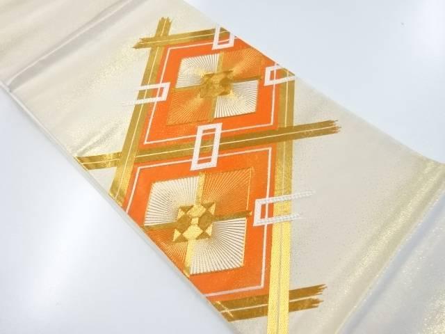【IDnet】 斜め格子に菱模様刺繍袋帯【リサイクル】【中古】【着】