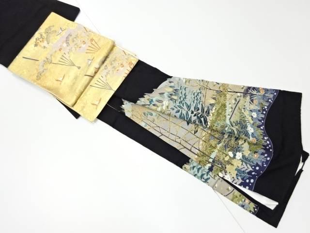 手描友禅遠山風景模様留袖・袋帯セット(比翼付き)【リサイクル】【中古】【着】 作家物 【IDnet】