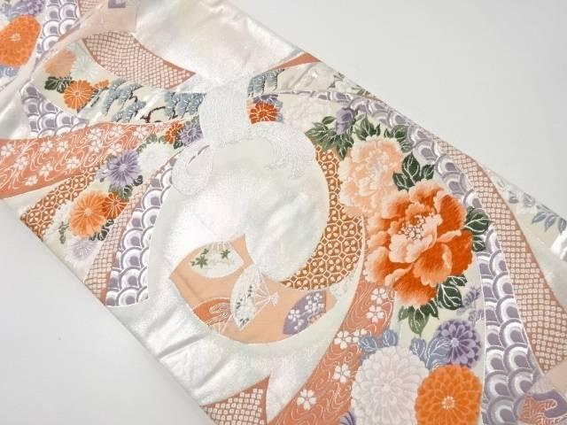 【IDnet】 銀糸束ね熨斗に牡丹・菊模様織り出し袋帯【リサイクル】【中古】【着】