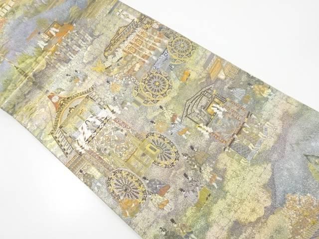 【IDnet】 プラチナ本金箔京名所に祇園祭模様織り出し袋帯【リサイクル】【中古】【着】