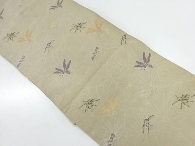 【IDnet】 紗 蜂にキリギリス・コオロギ模様織出し名古屋帯(着用可)【アンティーク】【中古】【着】