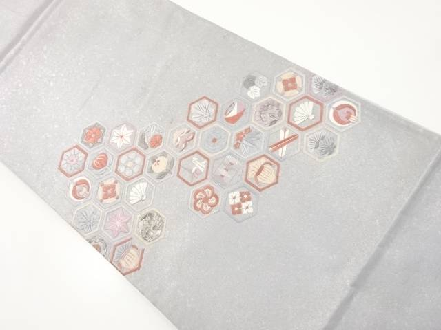 【IDnet】 亀甲に花・古典柄刺繍袋帯【リサイクル】【中古】【着】