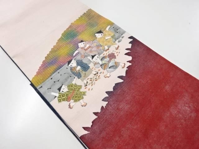 【IDnet】 秀峰作 手織り節紬手描き童子模様袋帯【リサイクル】【中古】【着】