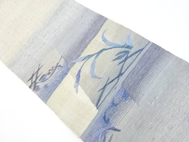 【IDnet】 紗紬すくい織り草葉模様織り出し袋帯【リサイクル】【中古】【着】