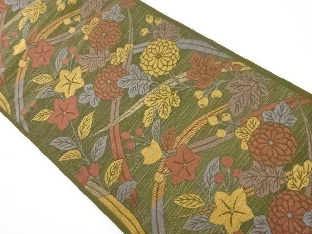 【IDnet】 秋草模様織り出し袋帯【リサイクル】【中古】【着】