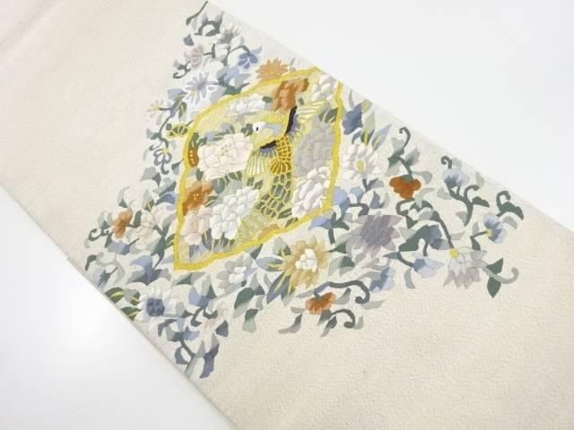 【IDnet】 明綴れ菱に花鳥模様織り出し袋帯【リサイクル】【中古】【着】
