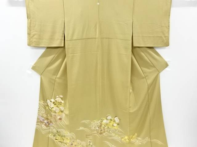 【IDnet】 金彩雪輪に牡丹松菊模様刺繍一つ紋色留袖(重ね衿付き)【リサイクル】【中古】【着】