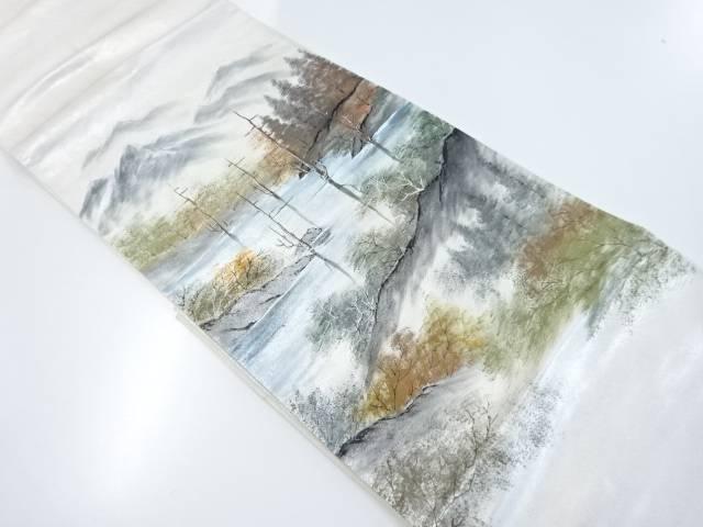 【IDnet】 作家物 手描き湖畔模様袋帯【リサイクル】【中古】【着】