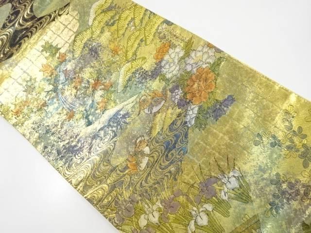 【IDnet】 本金観世水に花鳥模様織り出し袋帯【リサイクル】【中古】【着】