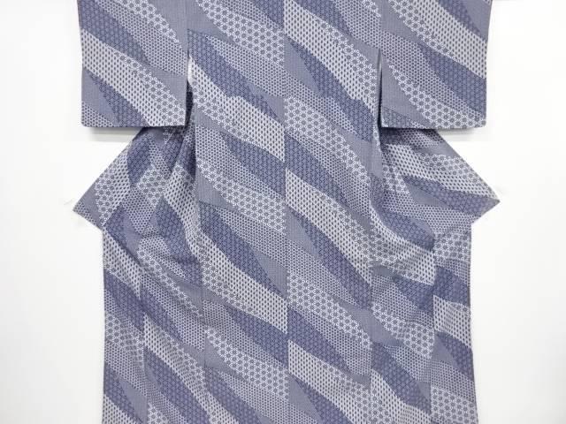【IDnet】 道長取に麻の葉模様小紋着物【リサイクル】【中古】【着】