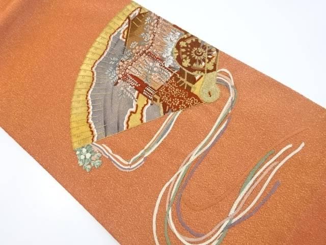【IDnet】 砂子綴れ相良刺繍桧扇に御所車模様袋帯【リサイクル】【中古】【着】