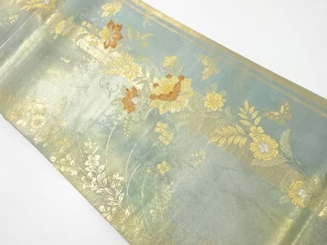 【IDnet】 未使用品 金糸牡丹に蝶模様織出袋帯【リサイクル】【着】