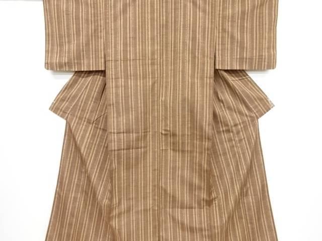 【IDnet】 縞に幾何学模様織り出し手織り紬着物【リサイクル】【中古】【着】