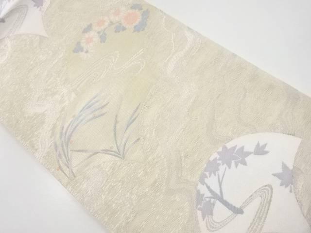 【IDnet】 紗青海波に花・紅葉模様織出袋帯【リサイクル】【中古】【着】