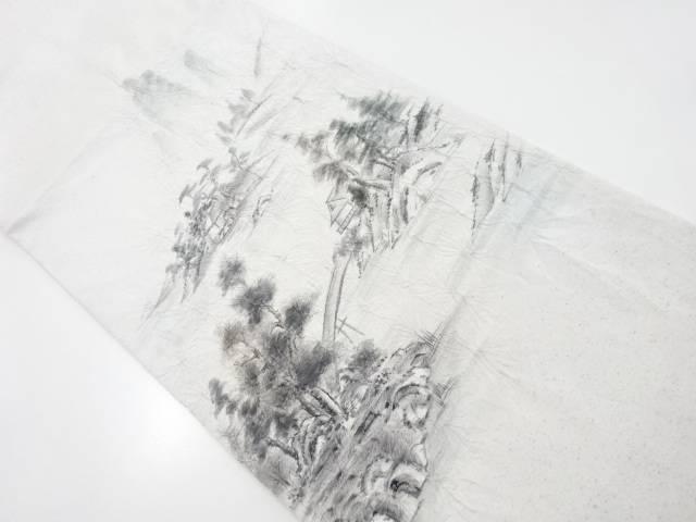 【IDnet】 絞り手描き風景模様袋帯【リサイクル】【中古】【着】