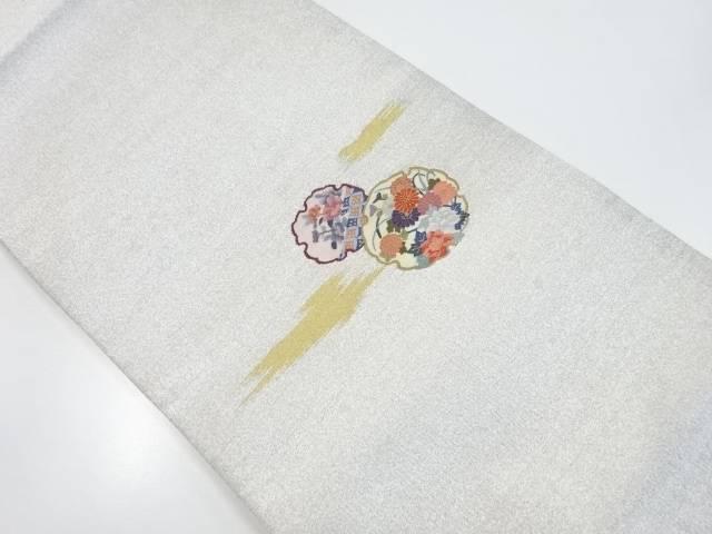 【IDnet】 綴れ雪輪に牡丹・菊・椿模様織り出し袋帯【リサイクル】【中古】【着】