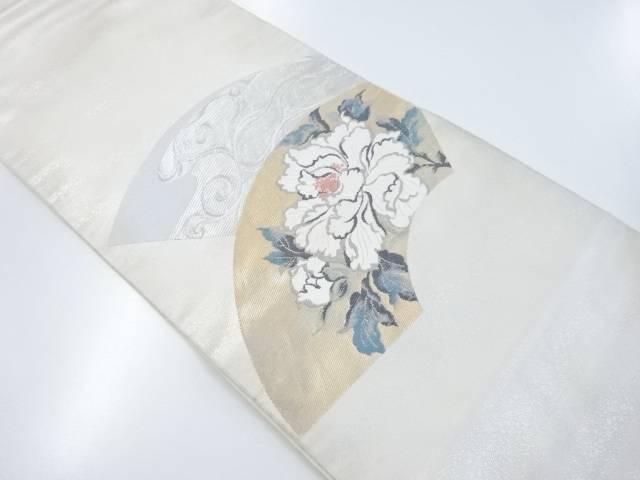 【IDnet】 地紙に牡丹流水模様織出本袋帯【リサイクル】【中古】【着】